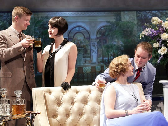 """The Great Gatsby"" is playing at the Des Moines Community Playhouse Jan. 27-Feb. 12, 2017. The play features (left to right) Benjamin Sheridan as Nick Carraway, Shelby Jensen as Jordan Baker, Emma Kay Banner as Daisy Buchanan, and Matthew Phillip Smith as Jay Gatsby."