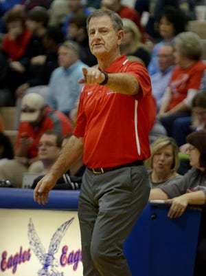 Gibson County High School girls basketball head coach Mitch Wilkins coached his team to victory over Chester County High School, Saturday, Jan 30, 2016.