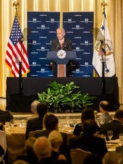 "Vice President Joe Biden discusses his ""cancer moonshot"" initiative at the World Affairs Council of Philadelphia's Atlas Awards dinner in Philadelphia on Wednesday night. Biden was presented with an Atlas Award for his work on the initiative."