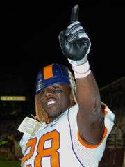 Clemson's C.J. Spiller (28) wears the leather helmet he received after being the MVP in the Tigers 2008 win over Boston College.