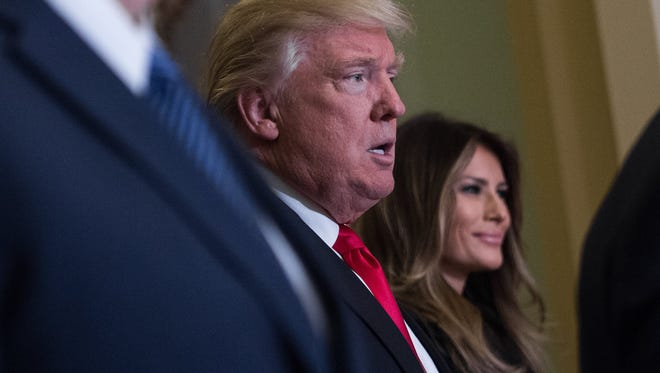 President-elect Donald Trump and wife Melania in the U.S. Capitol on Thursday.