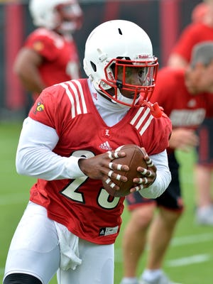 Louisville unior runnung back Brandon Radcliff participates in practice at the Louisville football practice facility in Louisville, Ky., Friday, August 7, 2015. (Timothy D. Easley/Special to the C-J)