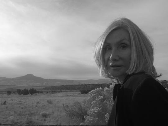 Actor Deborah Blanche is pictured on the O'Keeffe Trail