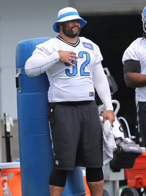 Detroit Lions defensive lineman Haloti Ngata watches drills Aug. 3, 2015, at the Allen Park practice facility.