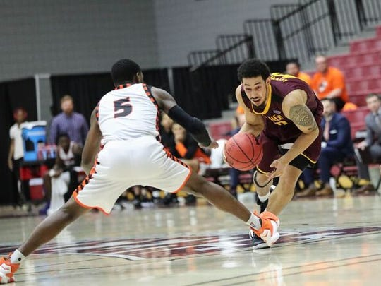 Trey Kennedy dribbles the ball during Midwestern State's LSC quarterfinal on Friday.