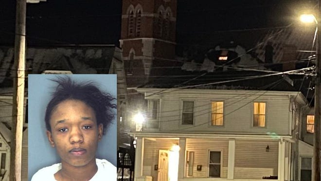 Police outside 16 Orchard St. in Middletown on Tuesday night, where a Middletown High School student, Roy Boyd, was stabbed to death. Chelsea Johnson, inset mugshot, was charged with murder.