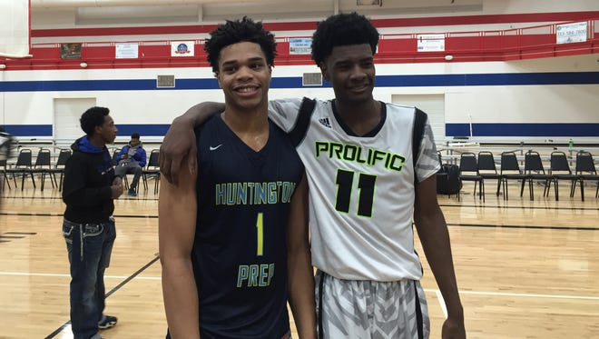 Detroit native Josh Jackson, right, with MSU signee Miles Bridges.