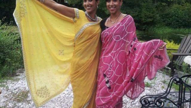 Event hosts Swasti Kafl, left, and Pooja Rana-DeMasi, right