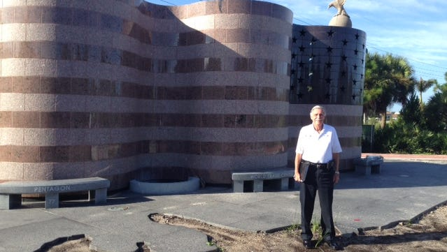 Former New York City firefighter Jerry Sanford at the Freedom Memorial, set to open Friday.