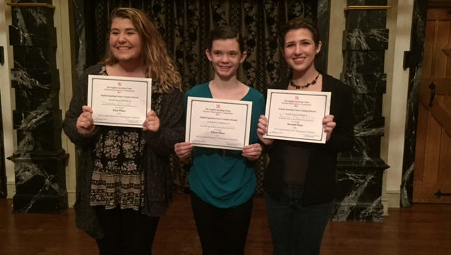 Local students Donna Boyd, Skylar Lanier and Nora Oechslin at the English Speaking Union Lexington Branch 2017 Shakespeare competition held at American Shakespeare Center's Blackfriars Playhouse in Staunton on Jan. 21.