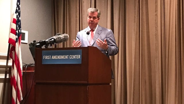 Mayor Karl Dean talks to reporters in Nashville on Wednesday, April 19, 2017.