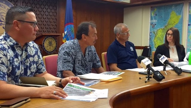 From left, Guam Economic Development Authority Administrator Jay Rojas, Revenue and Taxation Director John Camacho, Bureau of Budget and Management Research Deputy Director Lester Carlson, and Department of Administration Christine Baleto talk about the impacts of projected revenue shortfall on the government of Guam on Friday Jan. 26, 2018.