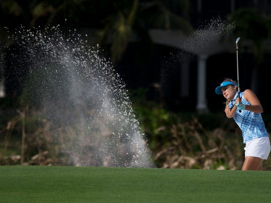 LPGA Tour Pro Lexi Thompson hits the ball out of a sand bunker on No. 17 during the final round of the Franklin Templeton Shootout at Tibur—n Golf Club at The Ritz-Carlton Golf Resort Saturday, Dec. 10, 2016 in Naples.