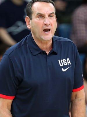 United States head coach Mike Krzyzewski.