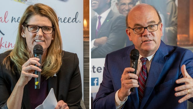 Challenger Tracy Lovvorn and Rep. James McGovern debate Tuesday at the Mercantile Center in Worcester.