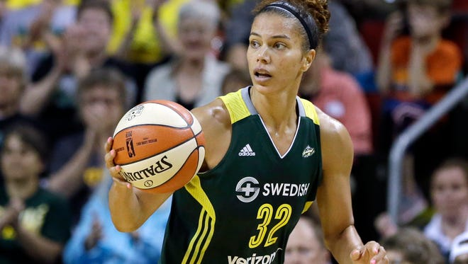 Seattle Storm's Alysha Clark in action against the Minnesota Lynx in a WNBA basketball game Sunday, May 22, 2016, in Seattle.