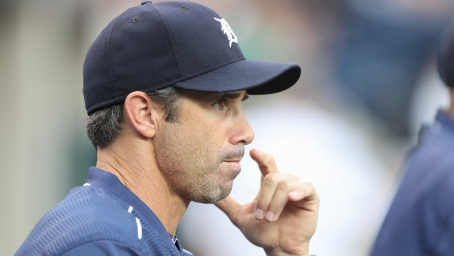 Detroit Tigers manager Brad Ausmus watches action against the Chicago White Sox on Aug. 30, 2016, at Comerica Park in Detroit.