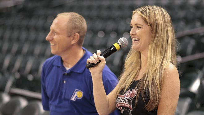 Lindy Thackston (right), tries out as a master of ceremonies, as Pacers employee Doug Morgan stands by, as she and other hopefuls tryout for a variety of Indiana Pacers promotional positions, Bankers Life Fieldhouse, Indianapolis, Monday, September 9, 2013.