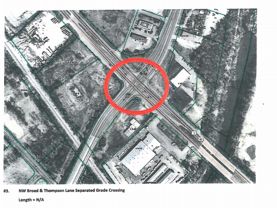 The proposed Murfreesboro 2040 Major Thoroughfare Plan includes a recommendation to build a bypass bridge for Thompson Lane to cross over Northwest Broad Street. The red circle shows the intersection.
