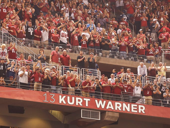Kurt Warner was inducted into the Arizona Cardinals Ring of Honor at first time during Monday Night Football on Sept. 8, 2014 at University of Phoenix Stadium in Glendale, Arizona.