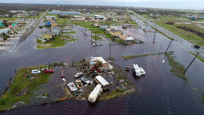 Aerial footage from Business 35 and 12th Street in Rockport, TX following Hurricane Harvey.