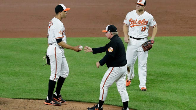 Baltimore Orioles manager Buck Showalter, center, relieves starting pitcher Ubaldo Jimenez, left, in front of first baseman Chris Davis in the fifth inning of a baseball game against the Minnesota Twins in Baltimore, Monday, May 22, 2017. (AP Photo/Patrick Semansky)