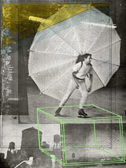 A section of Robert Rauschenberg's famous three-panel
