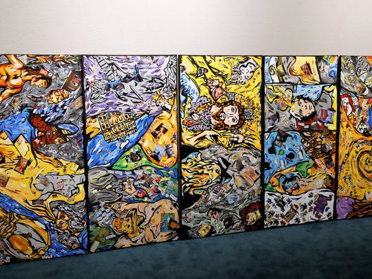 This five-panel series of paintings represents Crystal