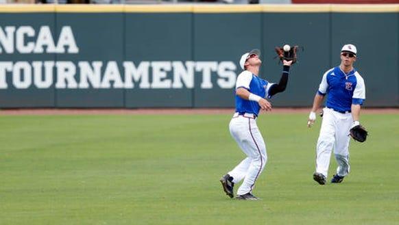 Louisiana Tech infielder Chandler Hall, second from