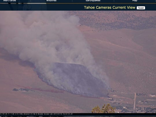 Brush fire in Washoe Valley as seen from fire camera on Slide Mountain on July 14, 2017.
