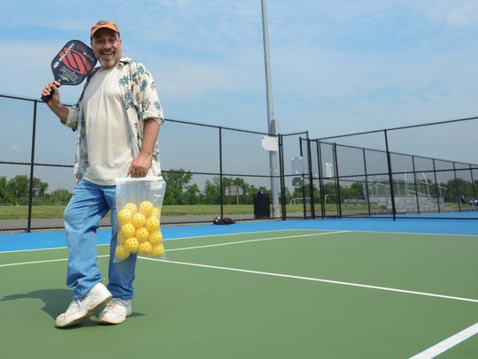 Bill Ervolino tries his hand at Pickleball in Overpeck