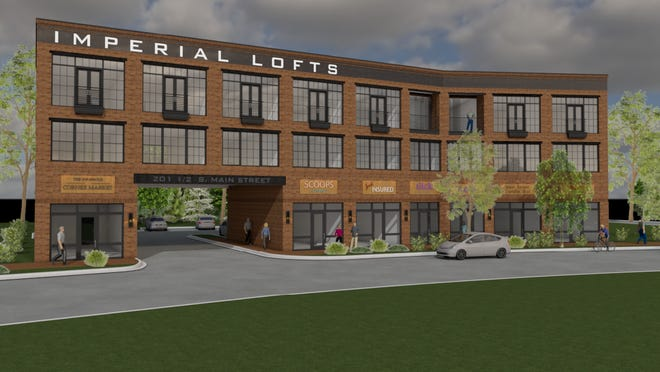 Shown is a drawing of what the Imperial Lofts Belmont would look like upon completion in the summer of 2021. The first floor would feature six retail spaces with nine three-story loft apartments located above.