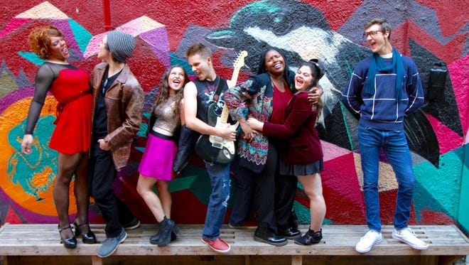"""Starring in the Running to Places Theatre Company production of """"Rent"""" are, from left, Jack Honig as Angel, Howard Kraskow as Collins, Elisheva Glaser as Mimi, Michael Sloan as Roger, Niaa Dowell as Joanne, Ilana Wallenstein as Maureen and Max Avramis as Mark."""