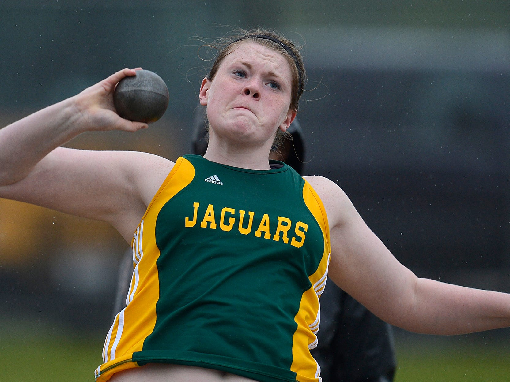Ashwaubenon's Erin Dunning attempts a throw in the girls shot put during the WIAA Division 1 regional tack and field meet at Bay Port High School in Suamico on Tuesday.
