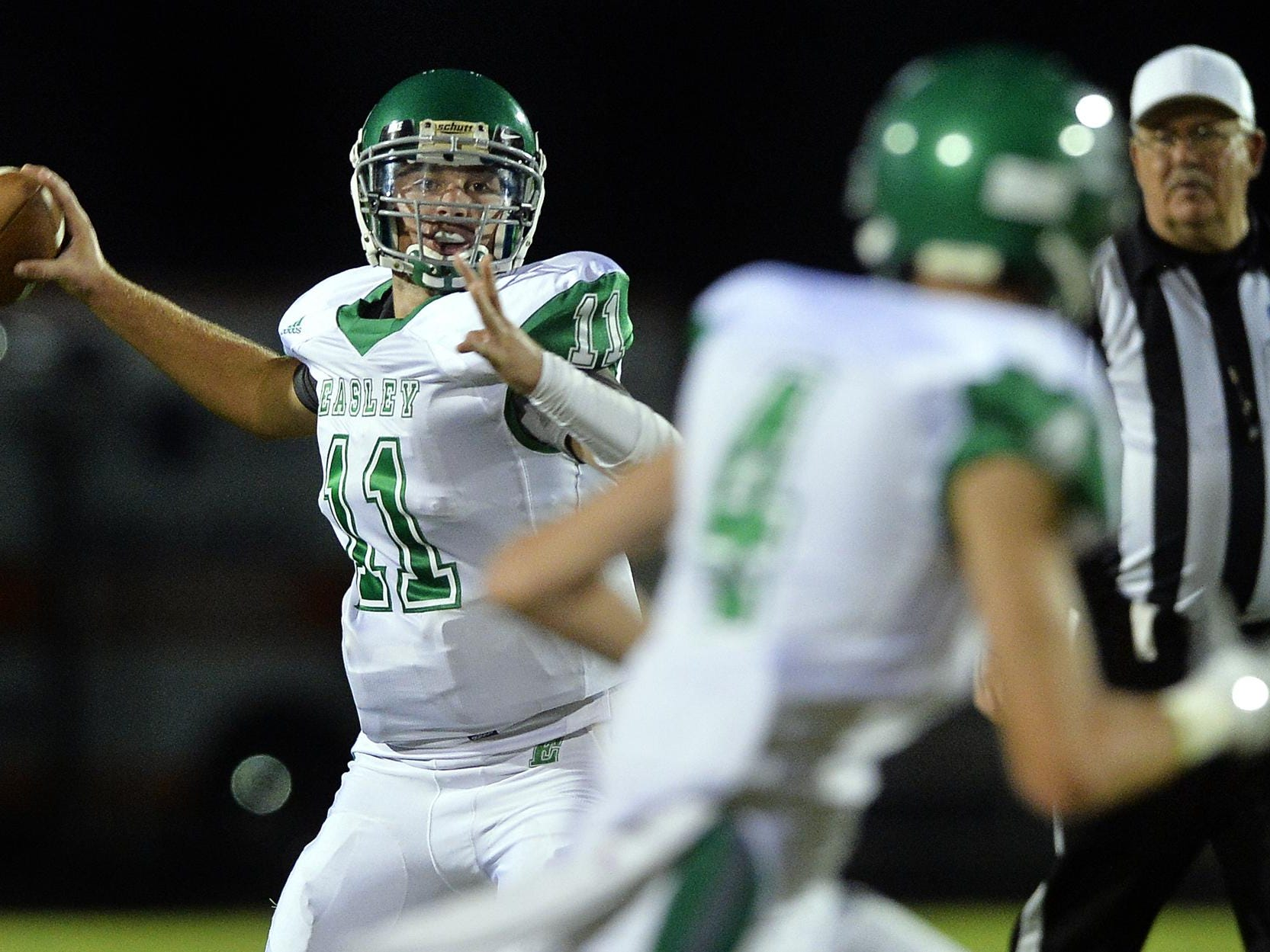 Easley's Dalton Black (11) had a 57-yard touchdown pass to Holden Martin (4) against Daniel on Friday.