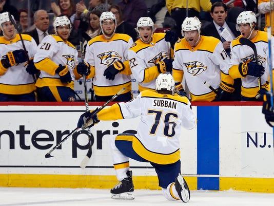 NHL: Nashville Predators at New Jersey Devils