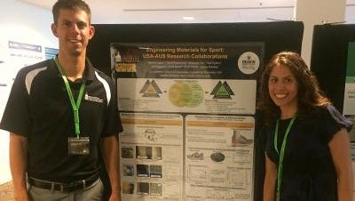 Dave Krzeminski and Nadine Lippa presenting their Southern Miss doctoral research at the Carbon Fibre Future Directions conference hosted by Deakin University last month in Geelong, Australia.
