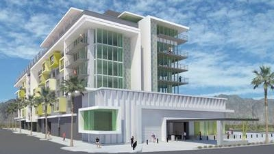 An architect's rendering of the new Kimpton hotel under construction in downtown Palm Springs.