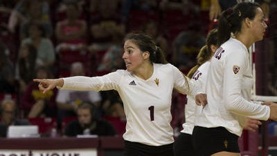 Bianca Arellano (1) has more than 3,000 assists in her three-year ASU volleyball career, fourth most in school history.