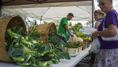 People shop the Williamston Farmers Market in July 2015.The 2016 season has begun, and the market is open Sundays from spring to fall.