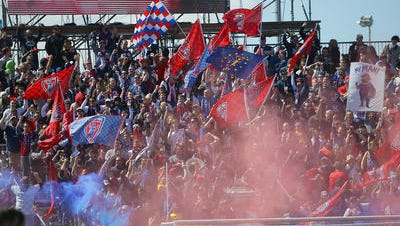 The Brickyard Battalion celebrates a goal by Indy Eleven forward Justin Braun in the first half of their NASL soccer match against Puerto Rico FC on April 1 at Carroll Stadium on the campus of IUPUI.