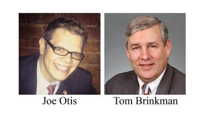 Joe Otis, left and Tom Brinkman, right, face each other in the Ohio 27th District race.