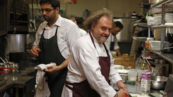 Jean-Robert de Cavel in the kitchen of his restaurant Jean-Robert's Table, Downtown