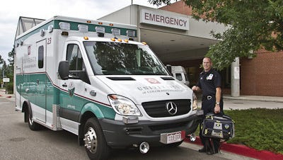 The new Mercedes ambulances are easy to spot on the road because they carry the UCHealth logo and name. Ambulances in the rest of the fleet will be repainted with UCHealth identifiers one-by-one as they are taken offline for routine maintenance.