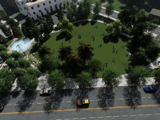 A rendering of the planned Shreveport Common park.