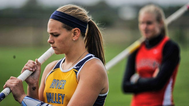 Gemma Starrs, then a freshman at River Valley, gets ready for the pole vault at the Marion County Track Meet. Starrs was recently awarded the Logan Stevens scholarship through the Marion Community Foundation.