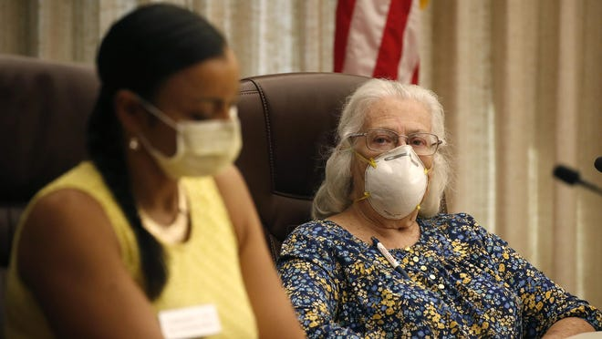 Daytona Beach City Commissioners Quanita May and Ruth Trager during an emergency city commission meeting to discuss the mandatory use of face masks in Dayttona Beach.