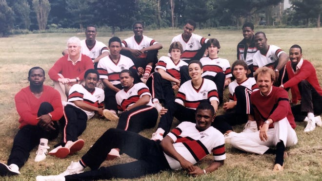 The 1984-85 Strong Vincent basketball team, shown on Vincent's practice field, won a PIAA championship.