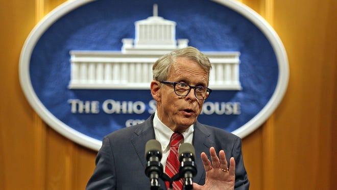 Gov.-elect Mike DeWine speaks to the press during a press conference at the Statehouse in November 2018.