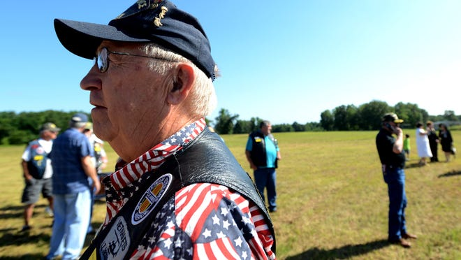 Charles Chance, president of the Vietnam Veterans of America Jackson Chapter, stands on the future site of the Tennessee State Veterans Cemetery at Parkers Crossroads on Thursday morning.